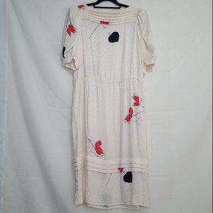 Vintage Flora Kung 100% silk dress ivory size 6